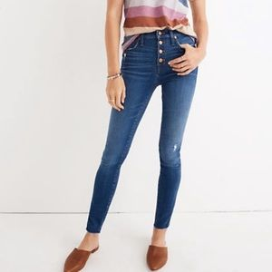 Madewell Hanna high rise button front skinny jeans